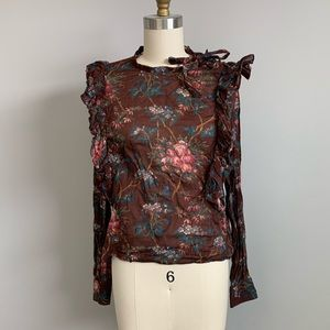 Doen purple floral ruffle blouse